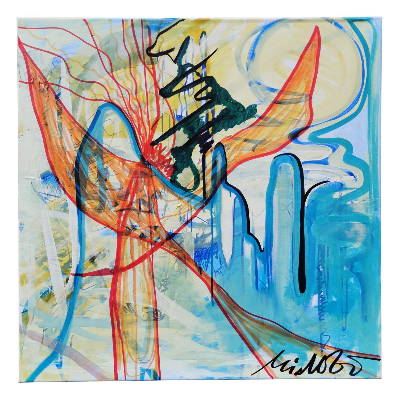 "Acrylic Painting On Canvas Title: ""Meroving Figurine"". 2020."